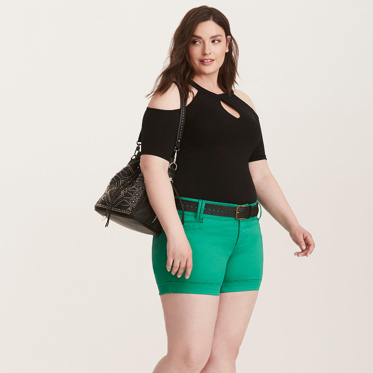Belted Sateen Shorts - green belted shorts from Torrid