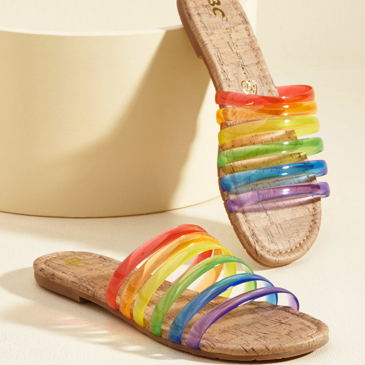 Color Me Casual Sandal in Rainbow - slide on sandals with gel rainbow from ModCloth