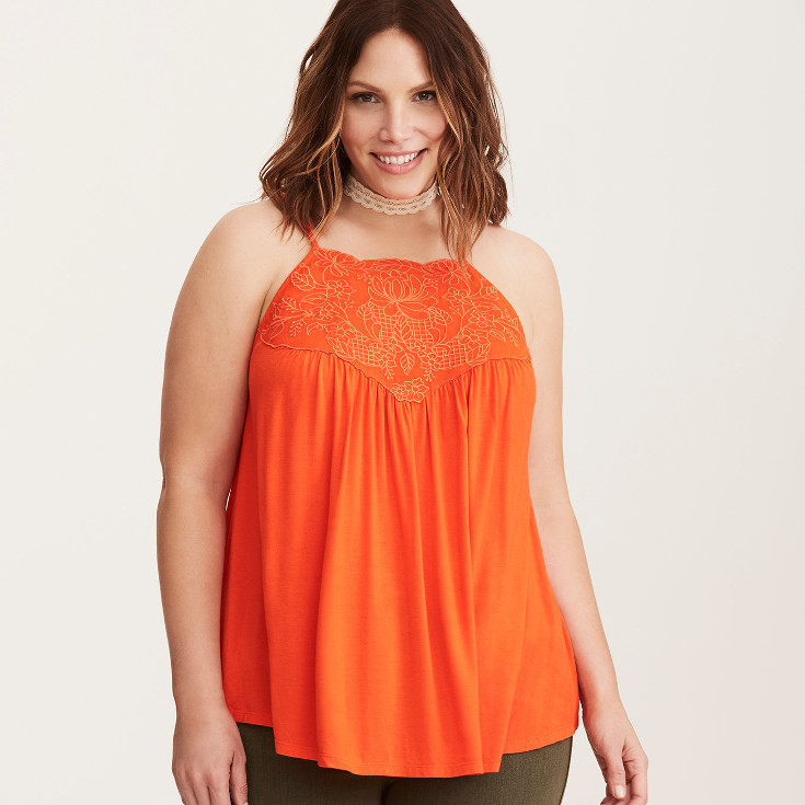 Embroidered High Neck Cami - orange cami from Torrid