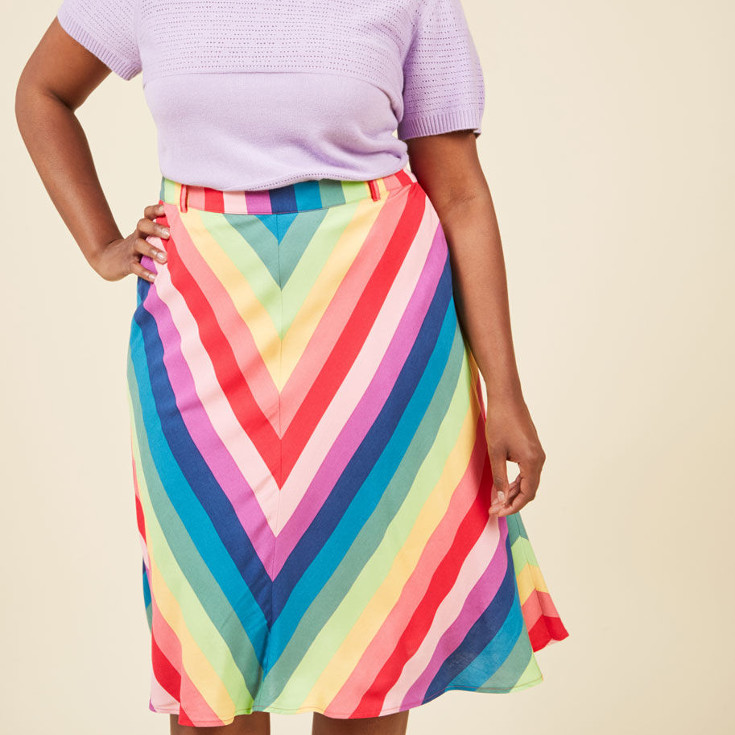 Projected Passion A-Line Skirt - rainbow aline skirt from Modcloth