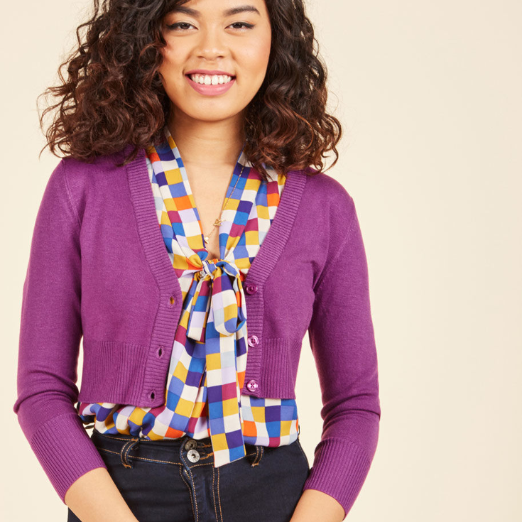 The Dream of the Crop Cardigan in Violet from ModCloth