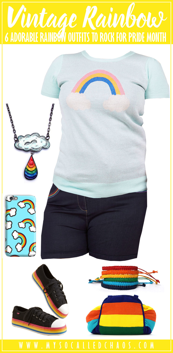 6 Adorable Rainbow Outfits to Rock for Pride Month: Vintage Rainbow featuring a rainbow shirt, shorts with a rainbow pocket, cloud and rainbow necklace, rainbow phone case, rainbow shoes, rainbow bracelets, and a rainbow purse.