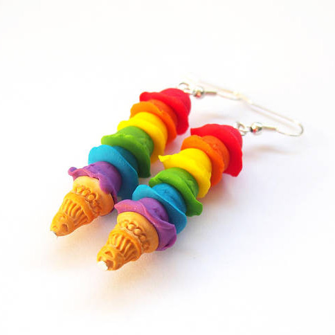 Rainbow Ice Cream Earrings