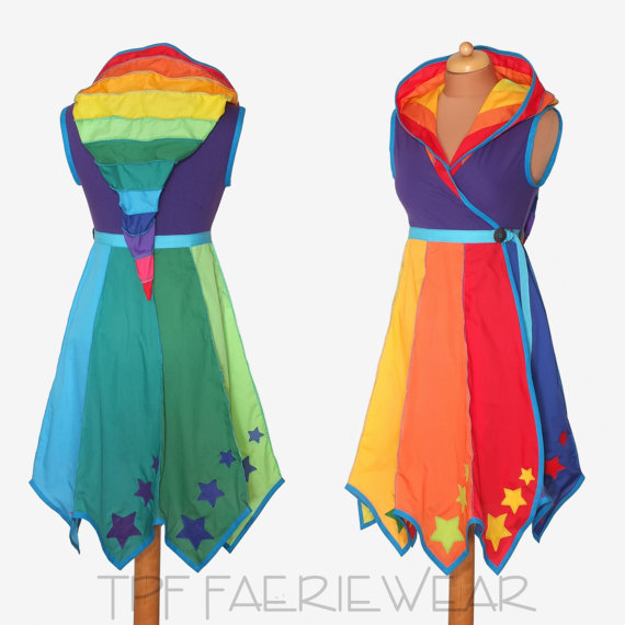 STARRY Rainbow* Knee Length Tournedot Dress