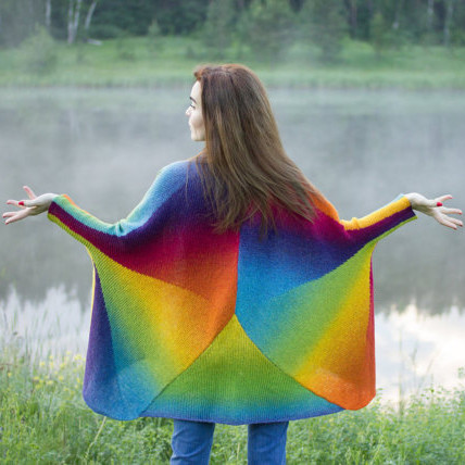 Rainbow Hand Knit Oversized Sweater