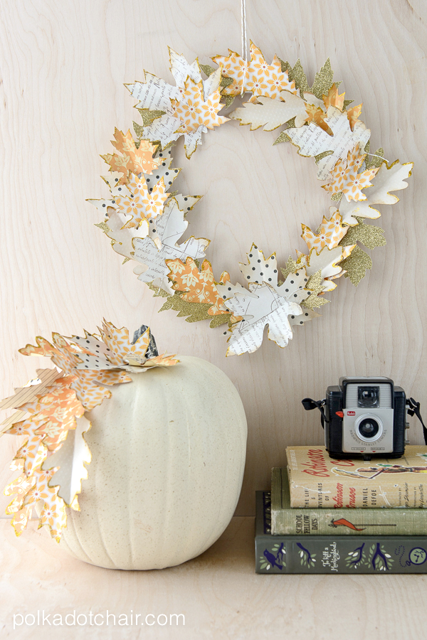 Easy Fall DIY Projects: Paper Leaf Wreath and Pumpkin from Polkadot Chair