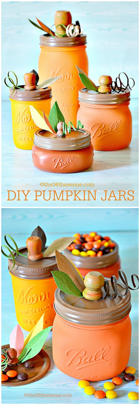 25 Easy Fall DIY Projects: DIY Pumpkin Mason Jars by The 36th Avenue