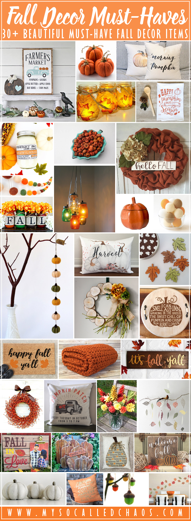 30+ Fall Decor Must-Haves - Gorgeous Autumn decorations that are sure to make your house feel like Fall. Enjoy pumpkins, pillows, garlands, leaves, and other fall-themed handmade goodies that will make your heart happy.