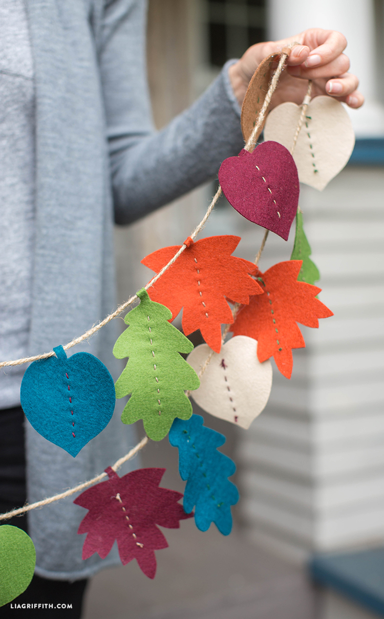 25 Easy Fall DIY Projects: DIY Fall Leaf Garland by Lia Griffith