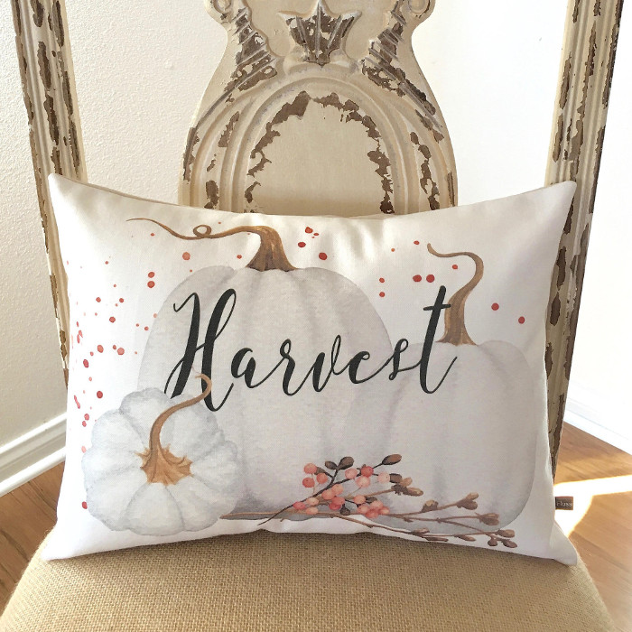 Harvest White Pumpkin Pillow Cover