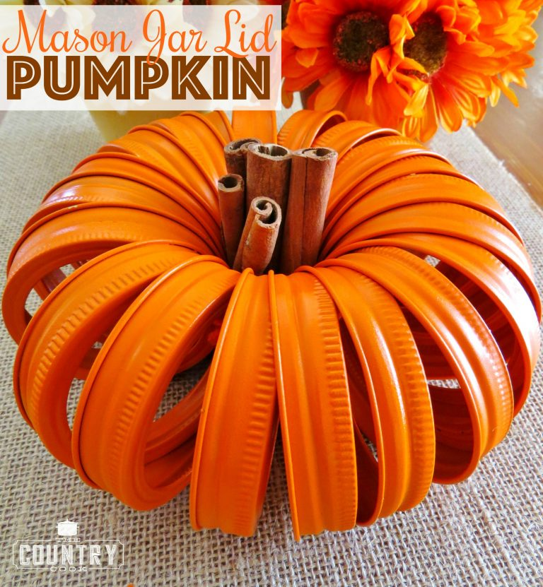 25 Easy Fall DIY Projects: Mason Jar Lid Pumpkins by The Country Cook