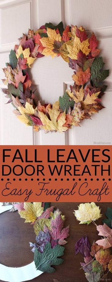 25 Easy Fall DIY Projects: Easy DIY Fall Wreath With Fresh Leaves by HomeTalk