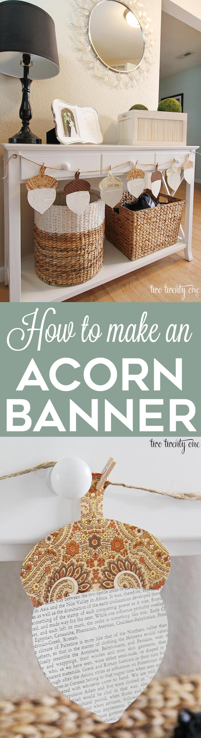 25 Easy Fall DIY Projects: DIY Acorn Banner by Two Twenty One