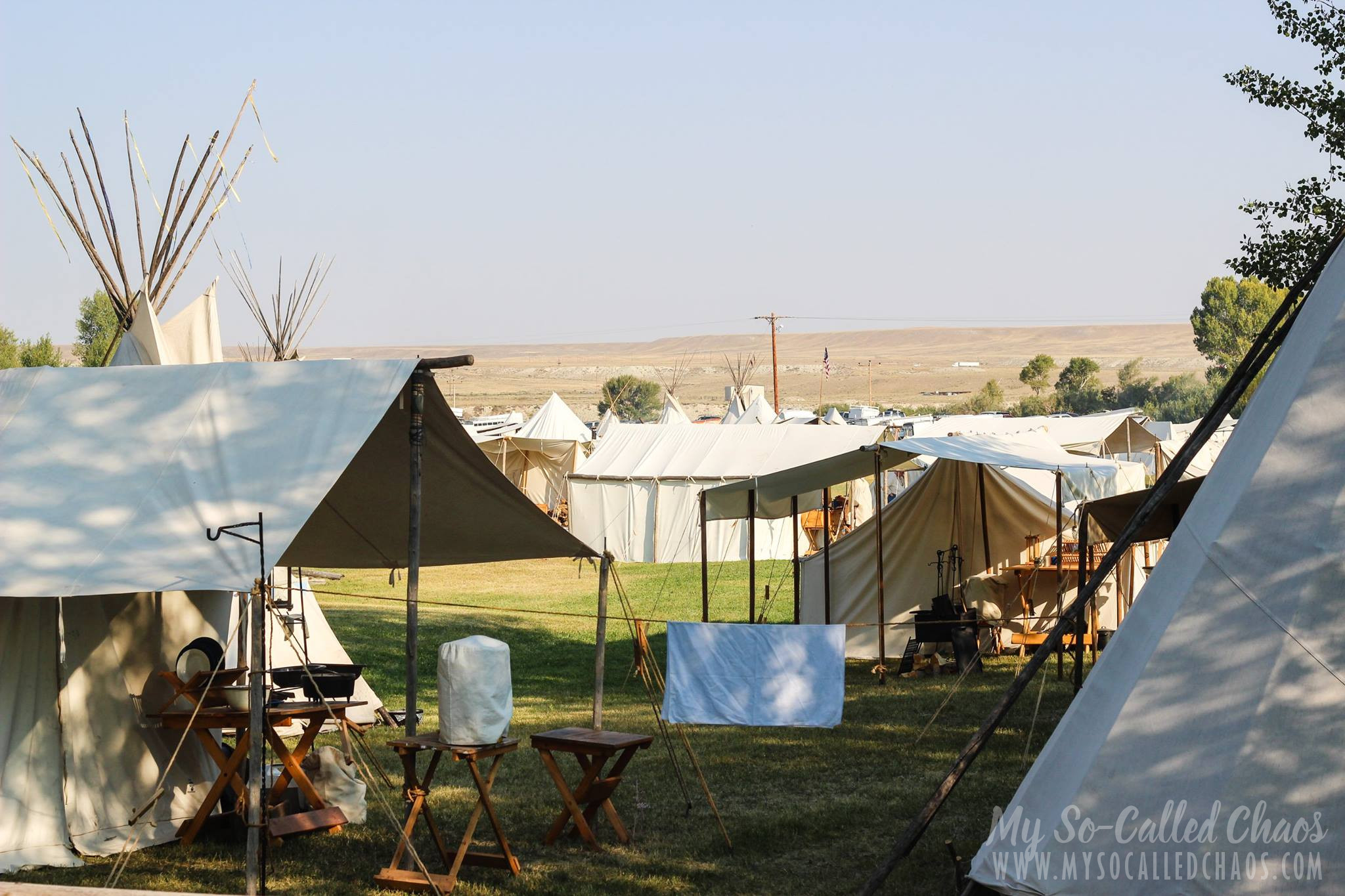 Tents set up at Fort Bridger Rendezvous