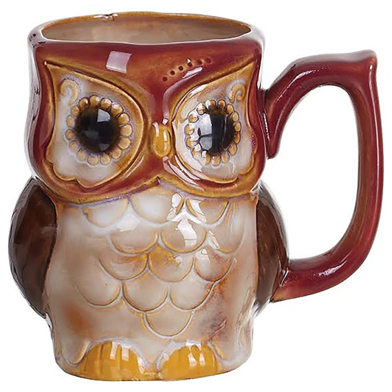 Burnt Red Woodland Owl Mug