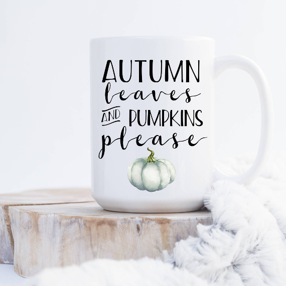 Autumn Leaves and Pumpkins Please Mug