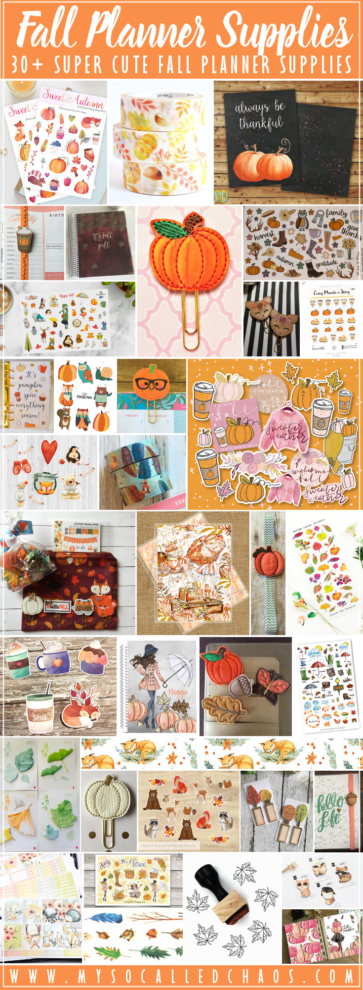 30+ Cute Fall Planner Supplies (Or BuJo & Scrabooking)