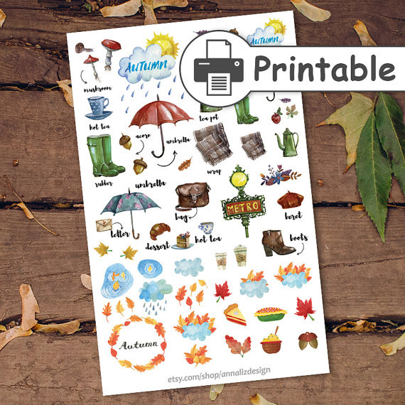 PRINTABLE Autumn Watercolor Stickers