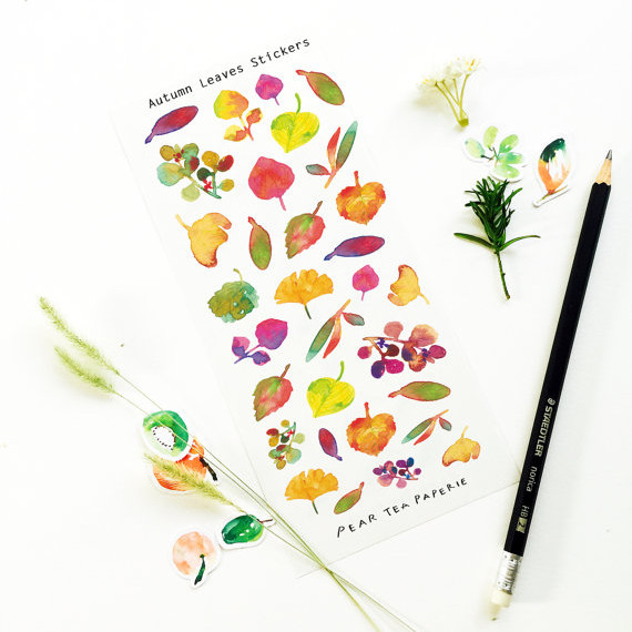 Fall Leaves Painting Stickers