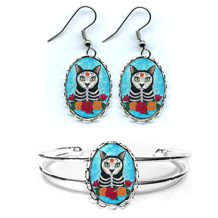 Day of the Dead Cat Earrings and Bracelet
