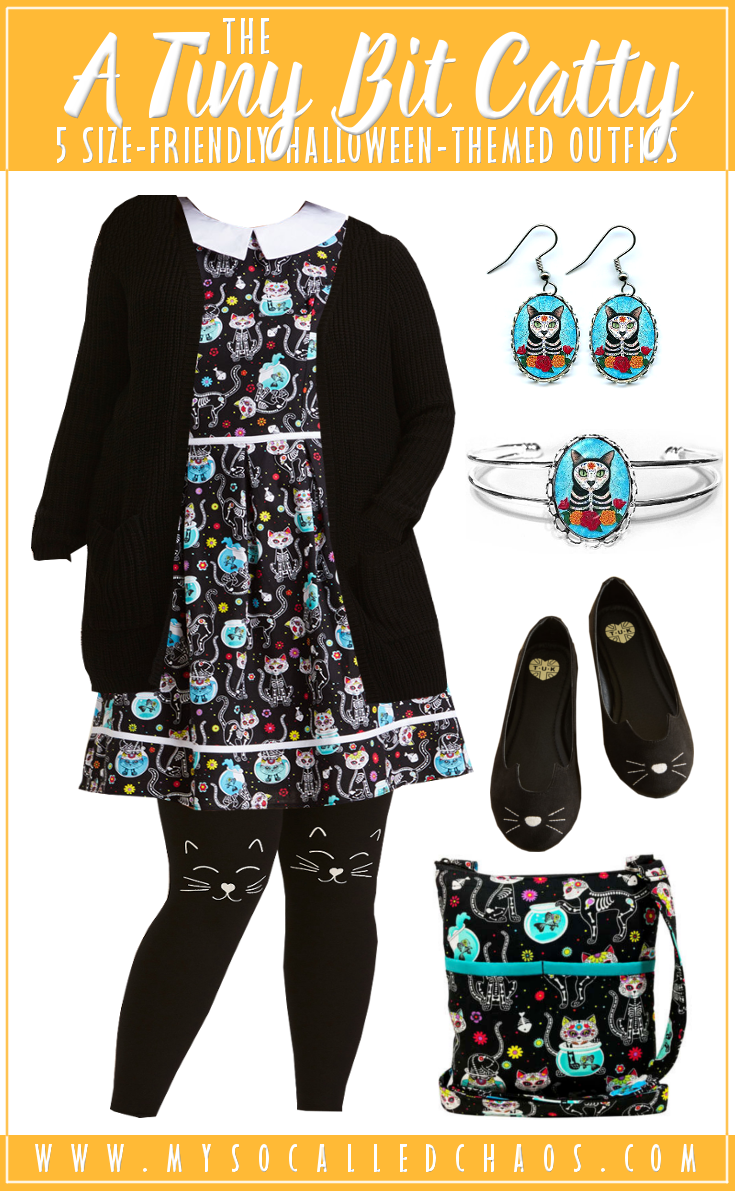 5 Size-Friendly Halloween-Inspired Outfits: A Tiny Bit Catty - These cute sugar skull kitties make are SO adorable. Plus, that cardigan looks cozy... #sugarskull #cats #plussize #halloweenoutfits #diadelosmuertos