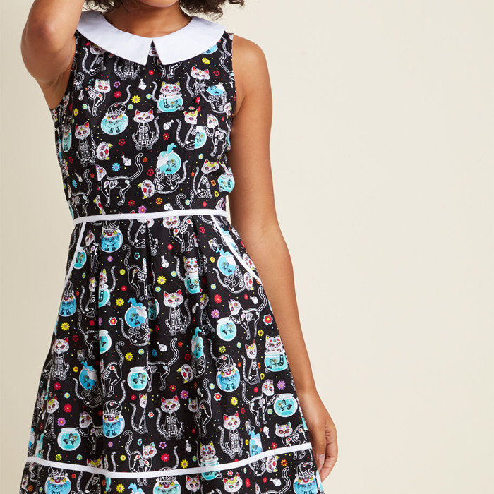 Rad to the Bone A-Line Dress in Feline - cat dia de los muertos sugar skull dress from modCloth