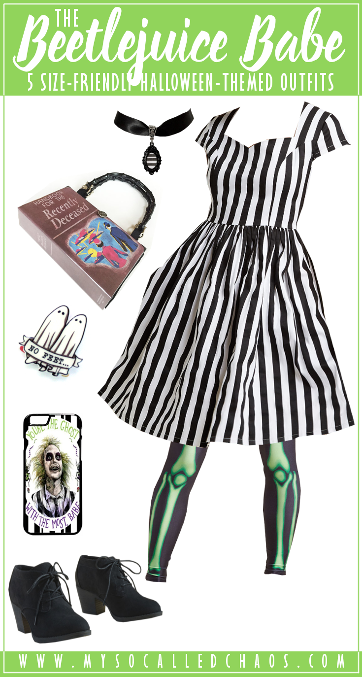 5 Size-Friendly Halloween-Inspired Outfits: The Beetlejuice Babe - Beetlejuice, Beetlejuice, Beetlejuice - You'll be called back to life with this beetlejuice-themed size-friendly outfit. It's giving me life! #beetlejuice #plussize #halloweenoutfit #halloween