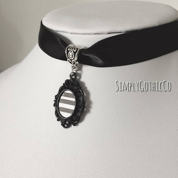 Gothic Victorian Striped Cameo Choker