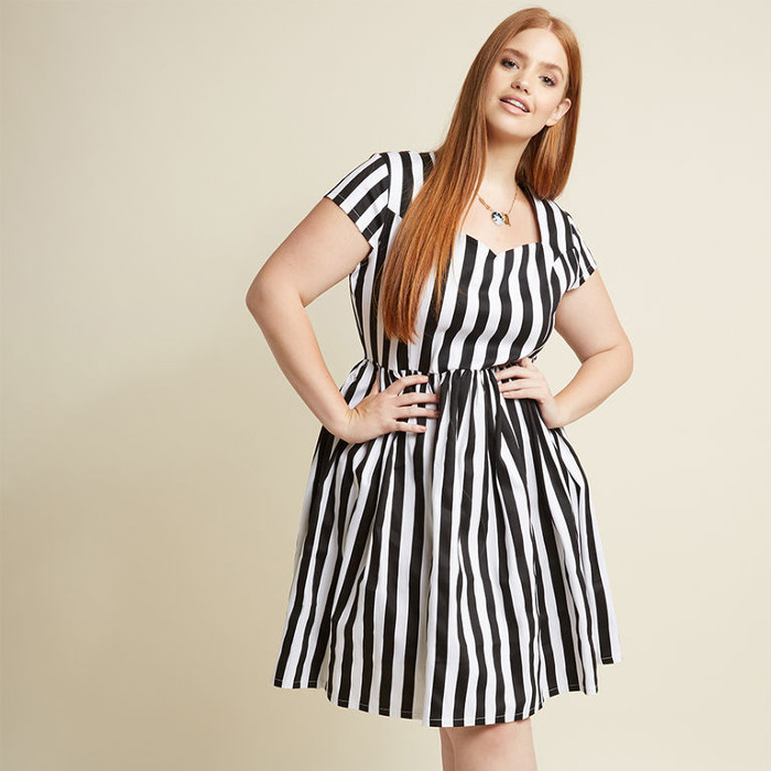 Banned Bold Me Over A-Line Midi Dress in Stripes - black and white striped dress from modCloth