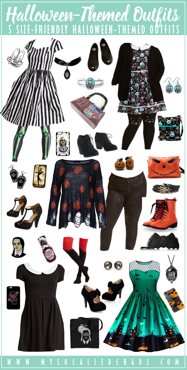 5 Size-Friendly Halloween-Inspired Outfits - Check out these adorable Halloweeny outfits that fit most sizes-including plus size Halloween lovers! #Halloween #PlusSize #HalloweenDresses #HalloweenOutfits #ootd #Fashion