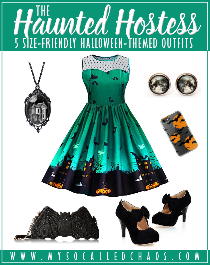 5 Size-Friendly Halloween-Inspired Outfits: The Haunted Hostess - This look is GORGEOUS, and the best thing? This dress is SUPER inexpensive and goes all the way up to a size 5X! #HauntedHostess #HalloweenDress #Halloween #Halloweenoutfit #plussize