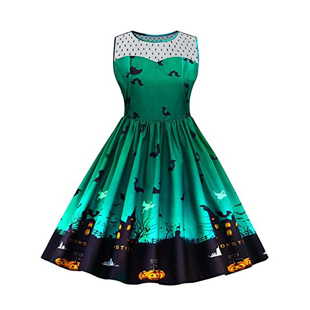 Vintage Plus Size Illusion Neck Sleeveless Halloween Swing Dress