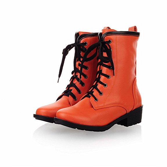 Orange Chunky Heel High Top Boots