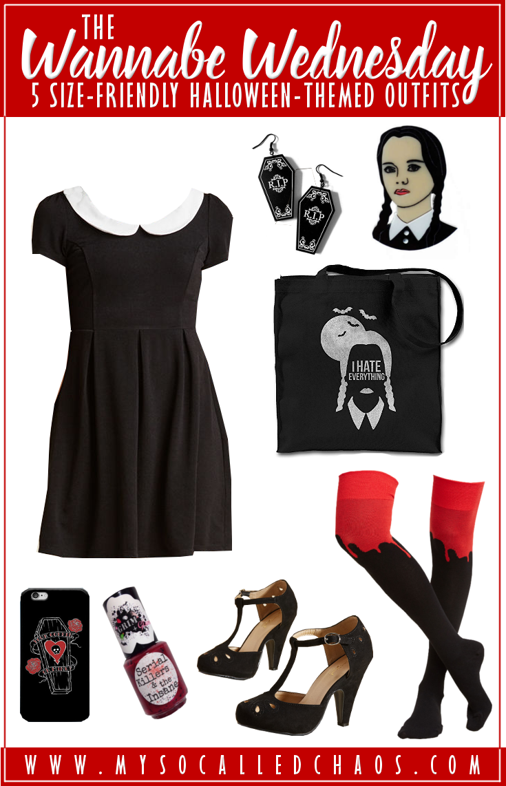 5 Size-Friendly Halloween-Inspired Outfits: The Wannabe Wednesday - Don't you just adore Wednesday Addams? I do, and this look is inspired by that amazing character. #HalloweenOutfits #plussize #fashion #WednesdayAddams #TheAddamsFamily