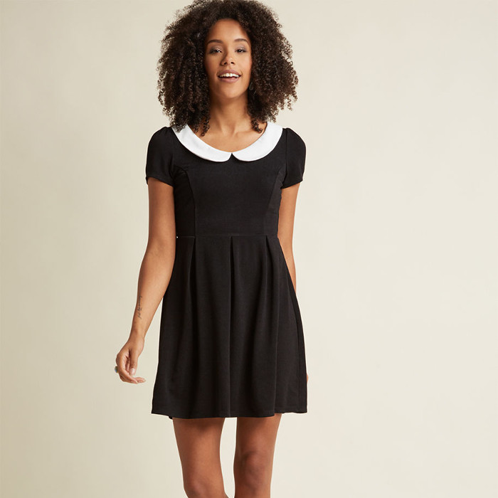 Record Time A-Line Dress in Black via ModCloth - black dress with a white collar