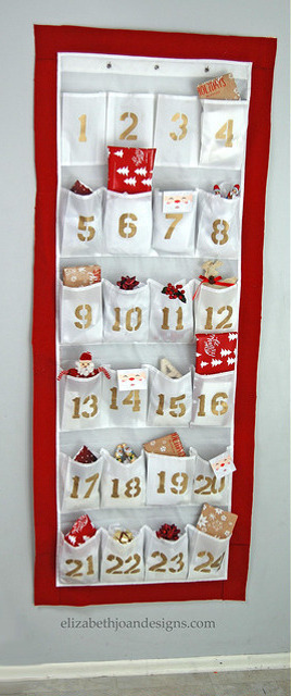 Advent Calendar Made from Shoe Organizer