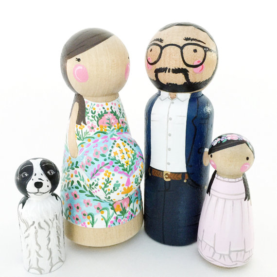 Peg Doll Family with Expectant Mother