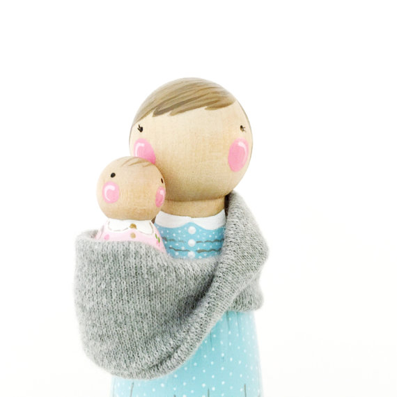 Mommy and Baby Baby Wearing Peg Dolls
