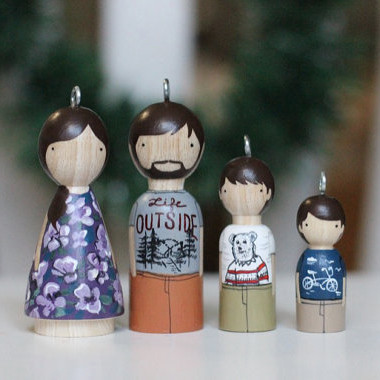 Personalized Family Peg Doll Ornaments