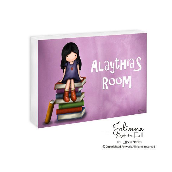 Girl on Books Personalized Room Sign