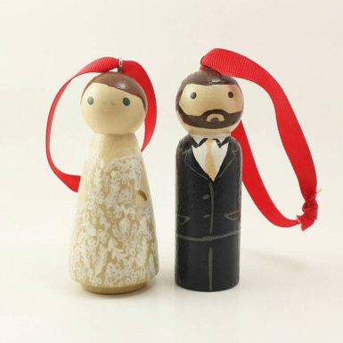 Wooden peg doll ornaments
