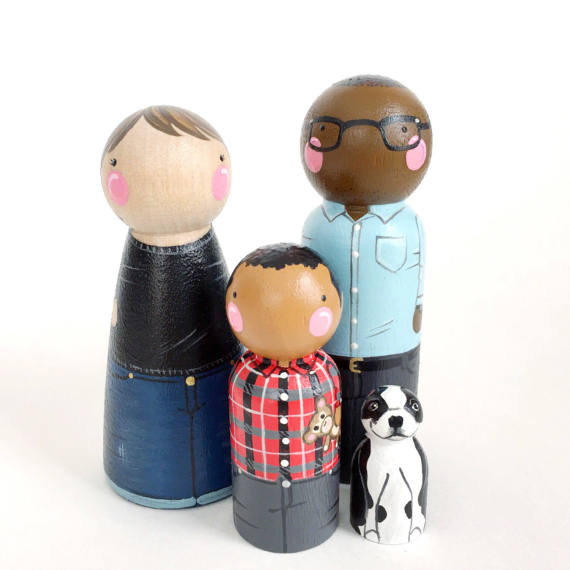Custom Peg Doll Family of 4