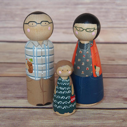 Custom Peg Doll Family of Three