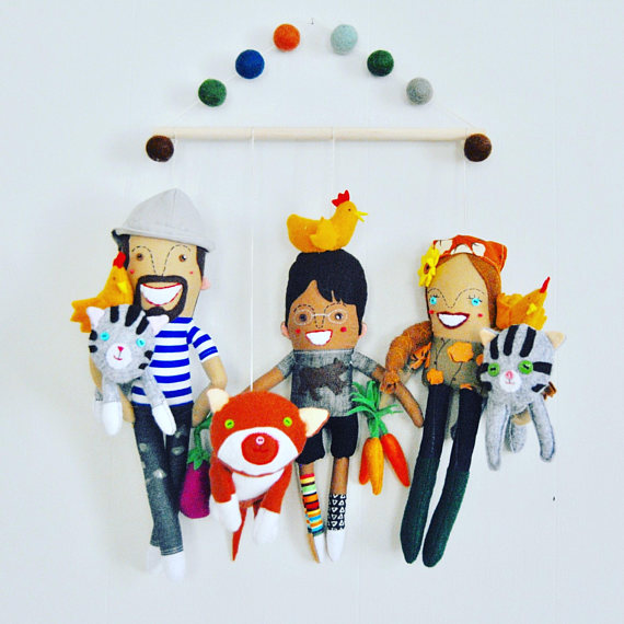 Personalized Family of Three Wall Hanging