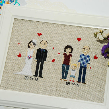 Personalized Cross Stitch Family Portrait