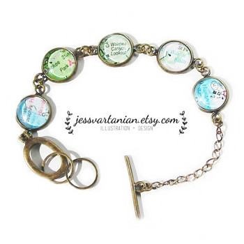 Map Location Custom Bangle Charm Bracelet