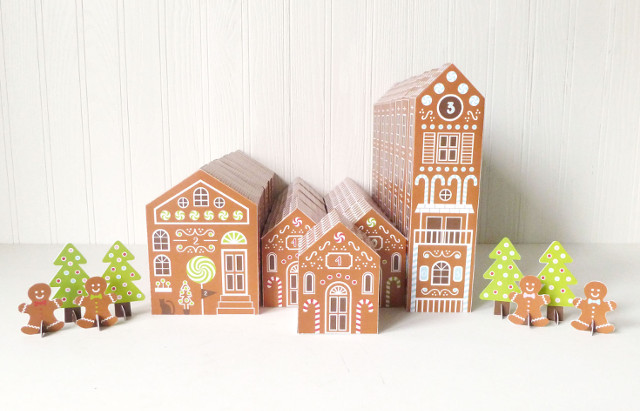 Printable Gingerbread House Advent Calendar Boxes