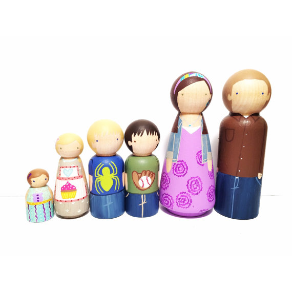 Custom Wooden Peg Doll Family of Six