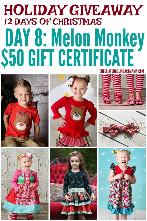 12 Days of Giveaways - Day 8: $50 Gift Card to Melon Monkeys