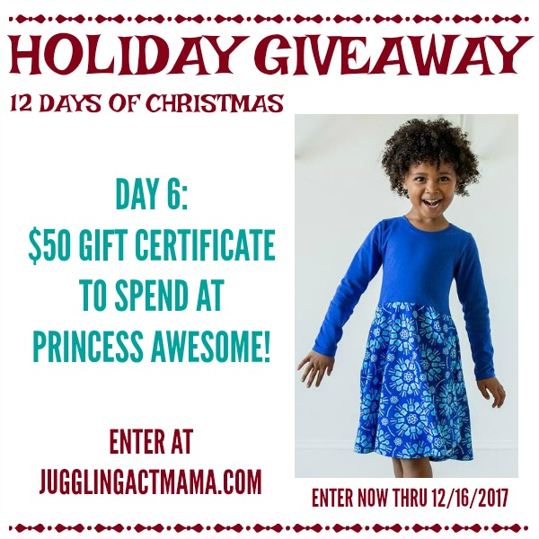 12 Days of Giveaways Day 6: $50 Gift Certificate to Princess Awesome